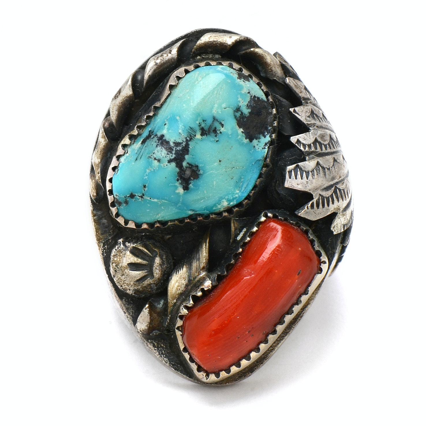 P. Padilla Navajo Silver Coral Turquoise Ring