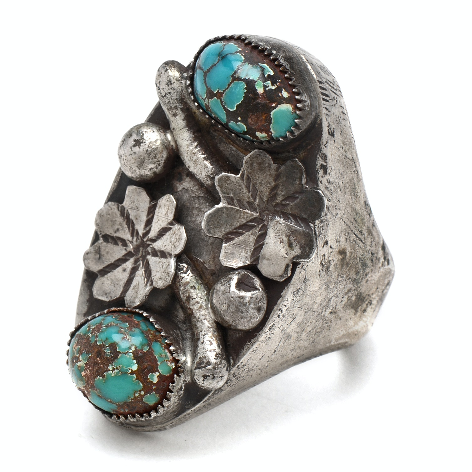 Native American Style 800 Silver Turquoise Ring