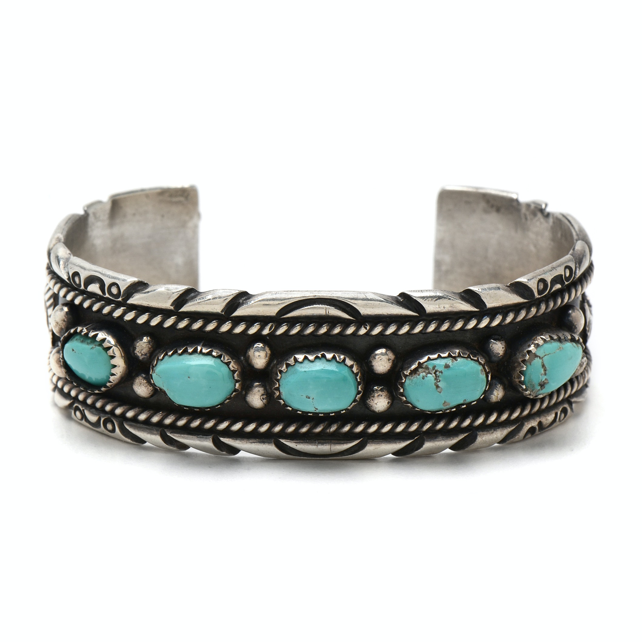 Navajo C. Johnson Hand-Made Sterling Silver Turquoise Cuff Bracelet