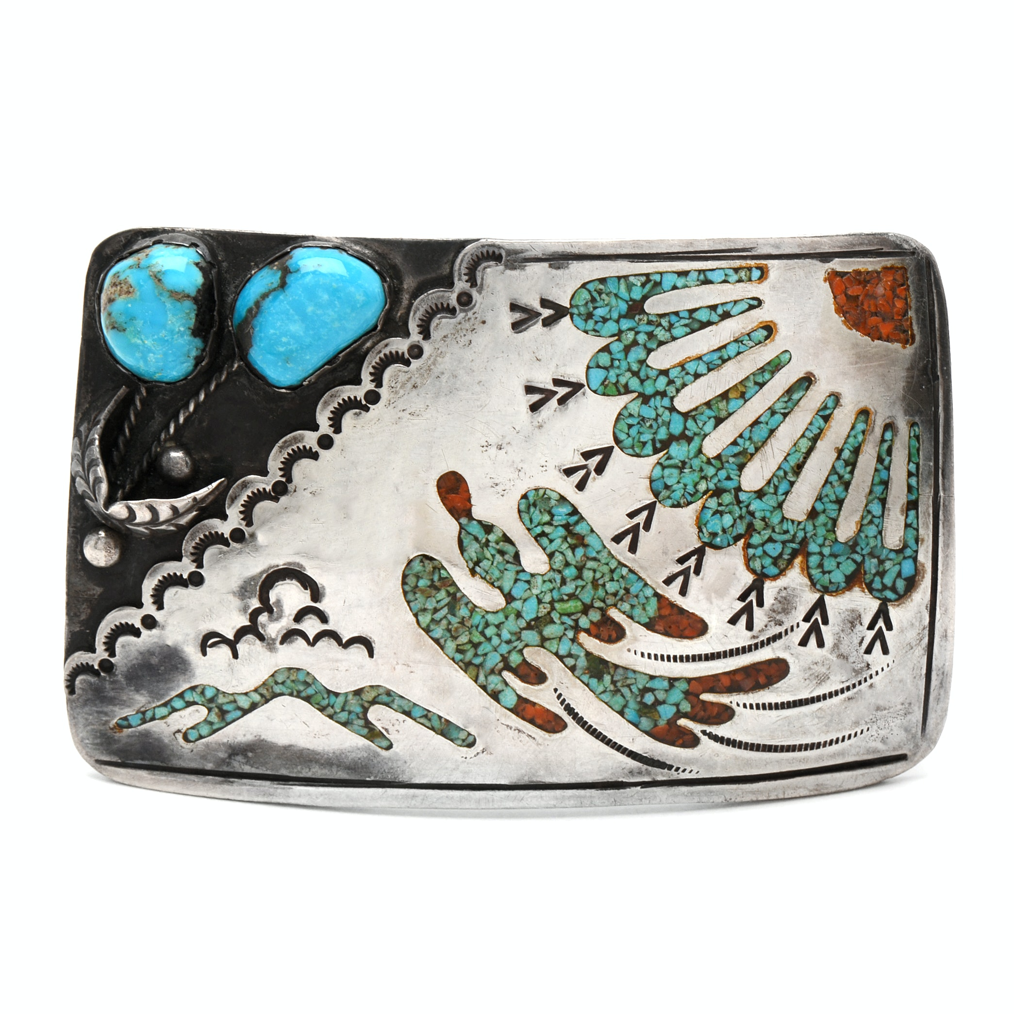 Signed Native American Style Sterling Silver Turquoise Belt Buckle