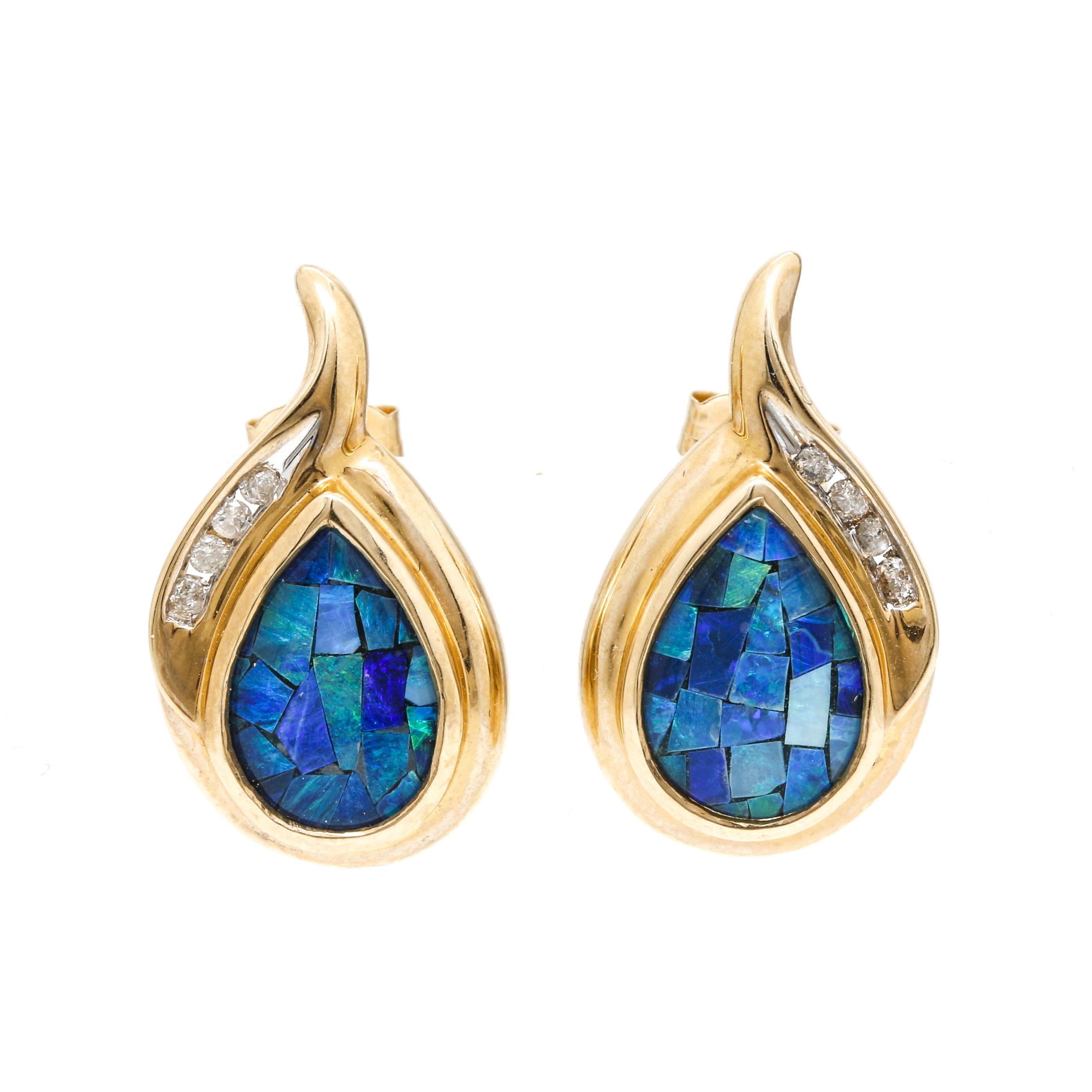 14K Yellow Gold Mosaic Opal Triplet and Diamond Tear Drop Stud Earrings