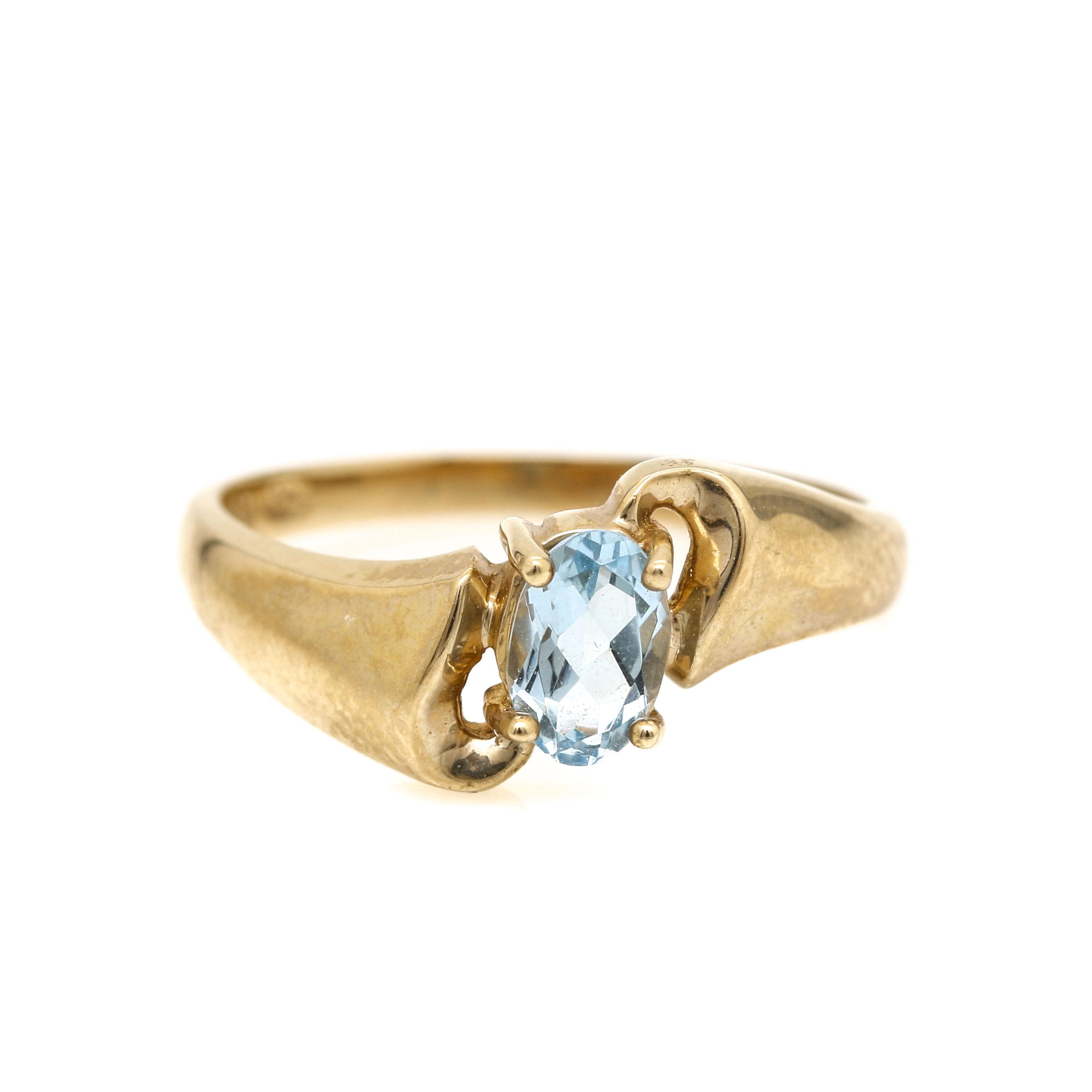 10K Yellow Gold Aquamarine Bypass Ring