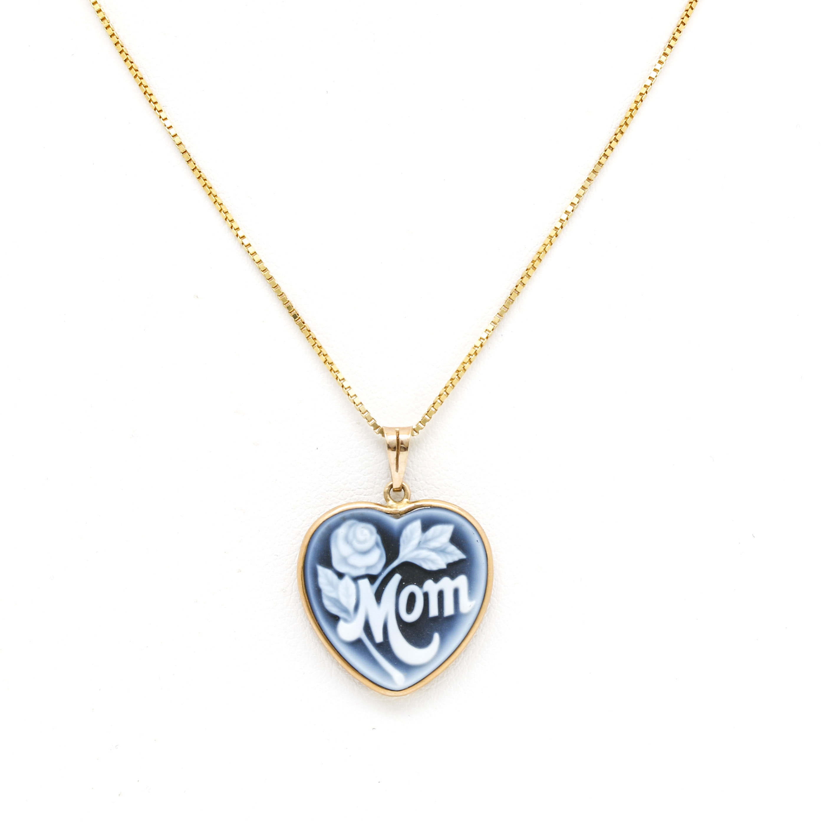 14K Yellow Gold Onyx Mom Heart Pendant Necklace