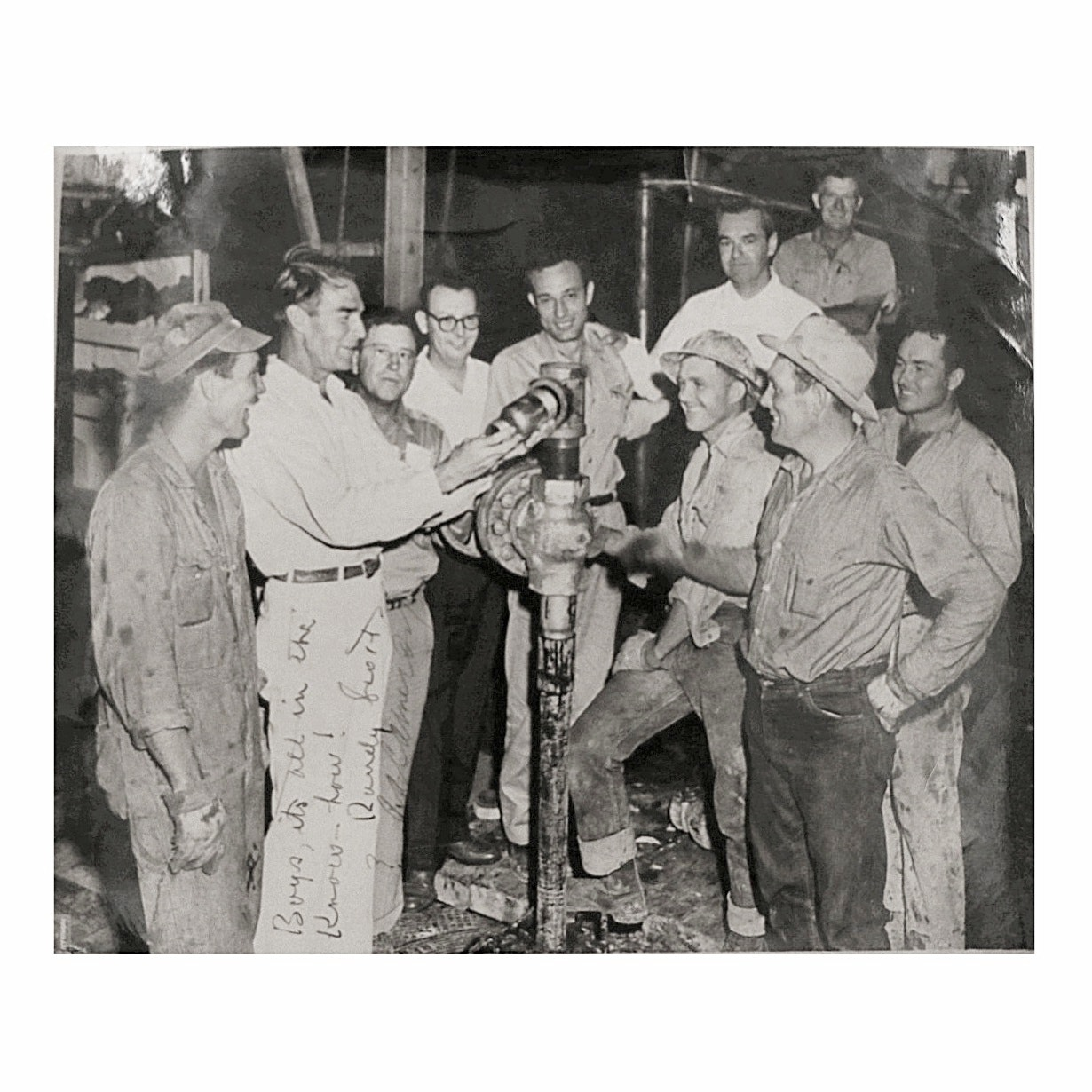Vintage Black and White Photograph of Oil Rig Workers Signed by Randolph Scott