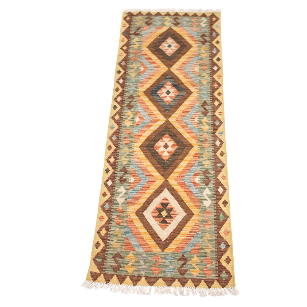 Hand-Woven Turkish Kilim Rug Runner