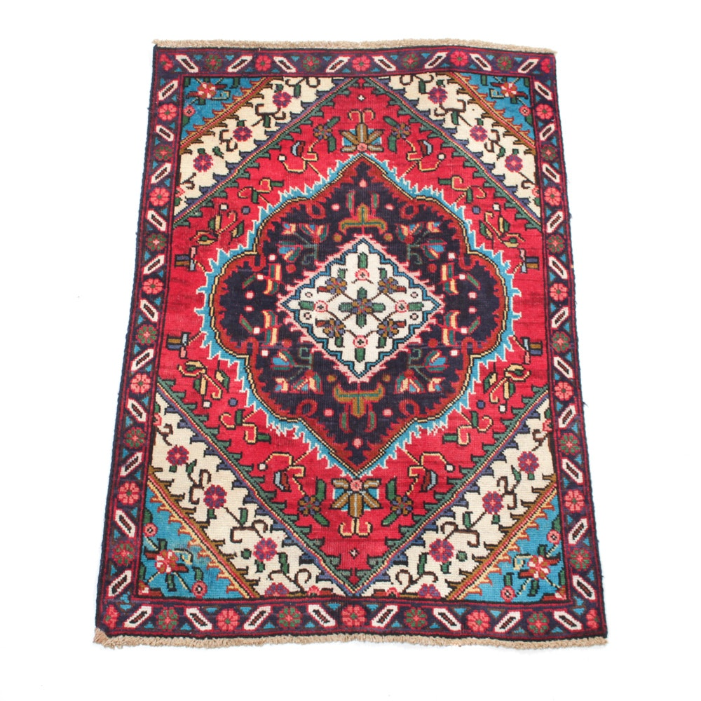 Vintage Hand-Knotted Persian Tabriz Accent Rug