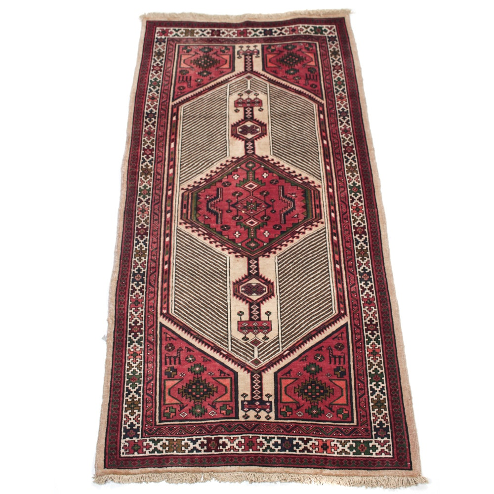 Vintage Hand-Knotted Persian Sarab Wool Long Rug