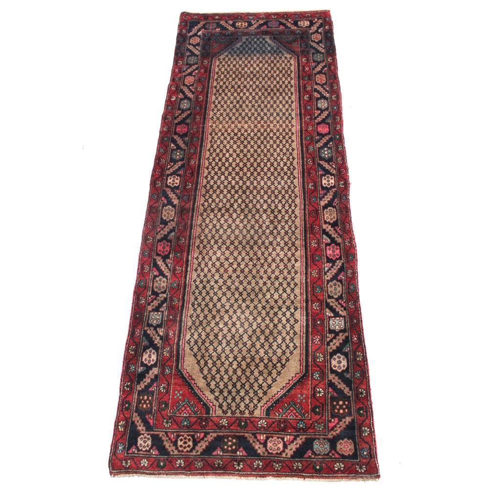 Vintage Hand-Knotted Persian Senneh Bijar Rug Runner