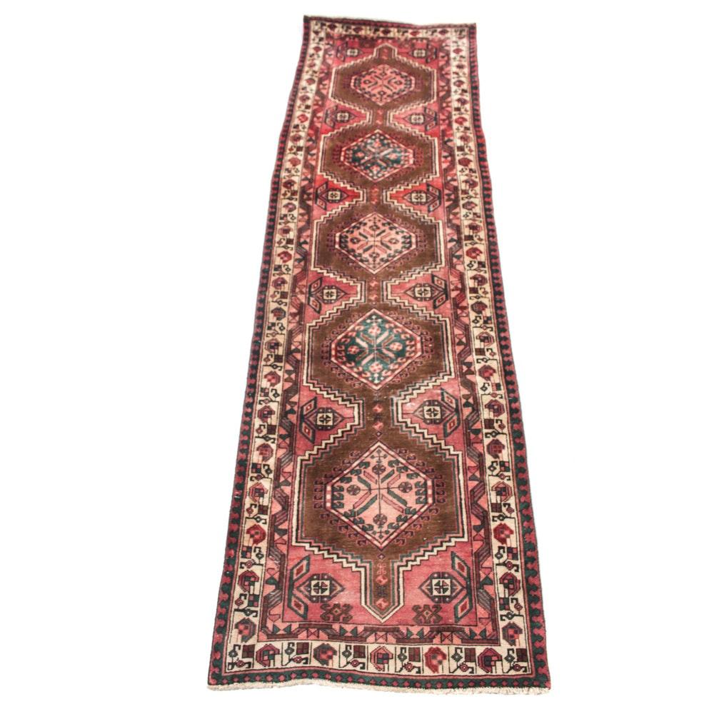 Vintage Hand-Knotted Persian Karaja Heriz Rug Runner
