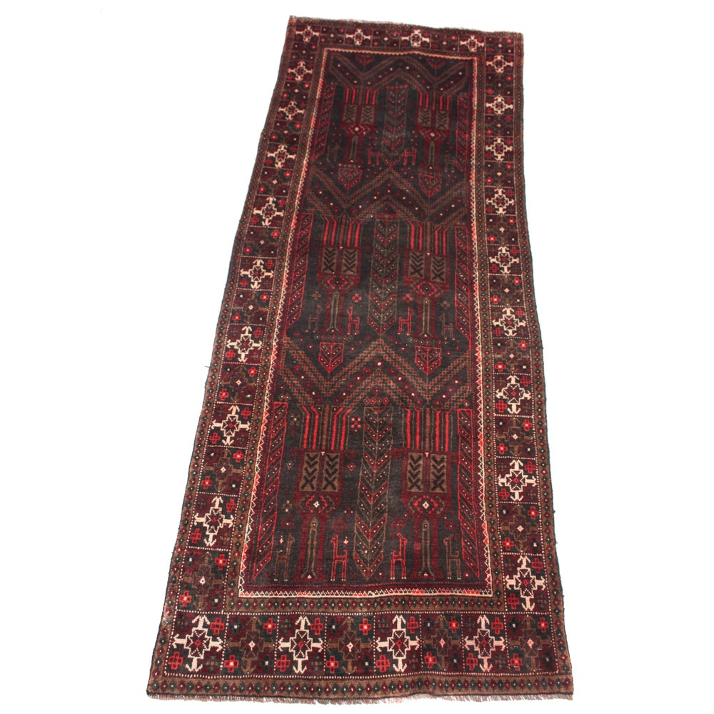 Vintage Hand-Knotted Persian Qashqai Rug Runner