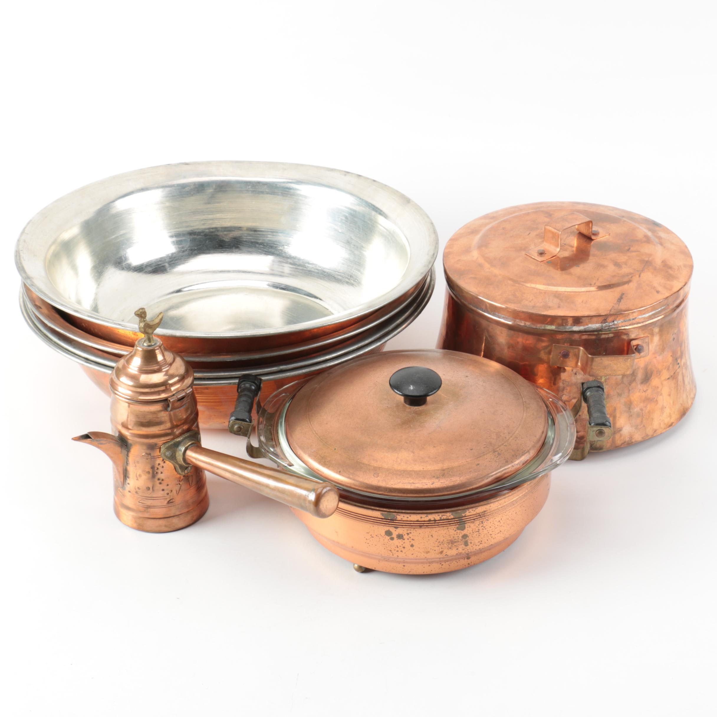 Copper and Aluminum Cookware with Glass Pyrex Dish