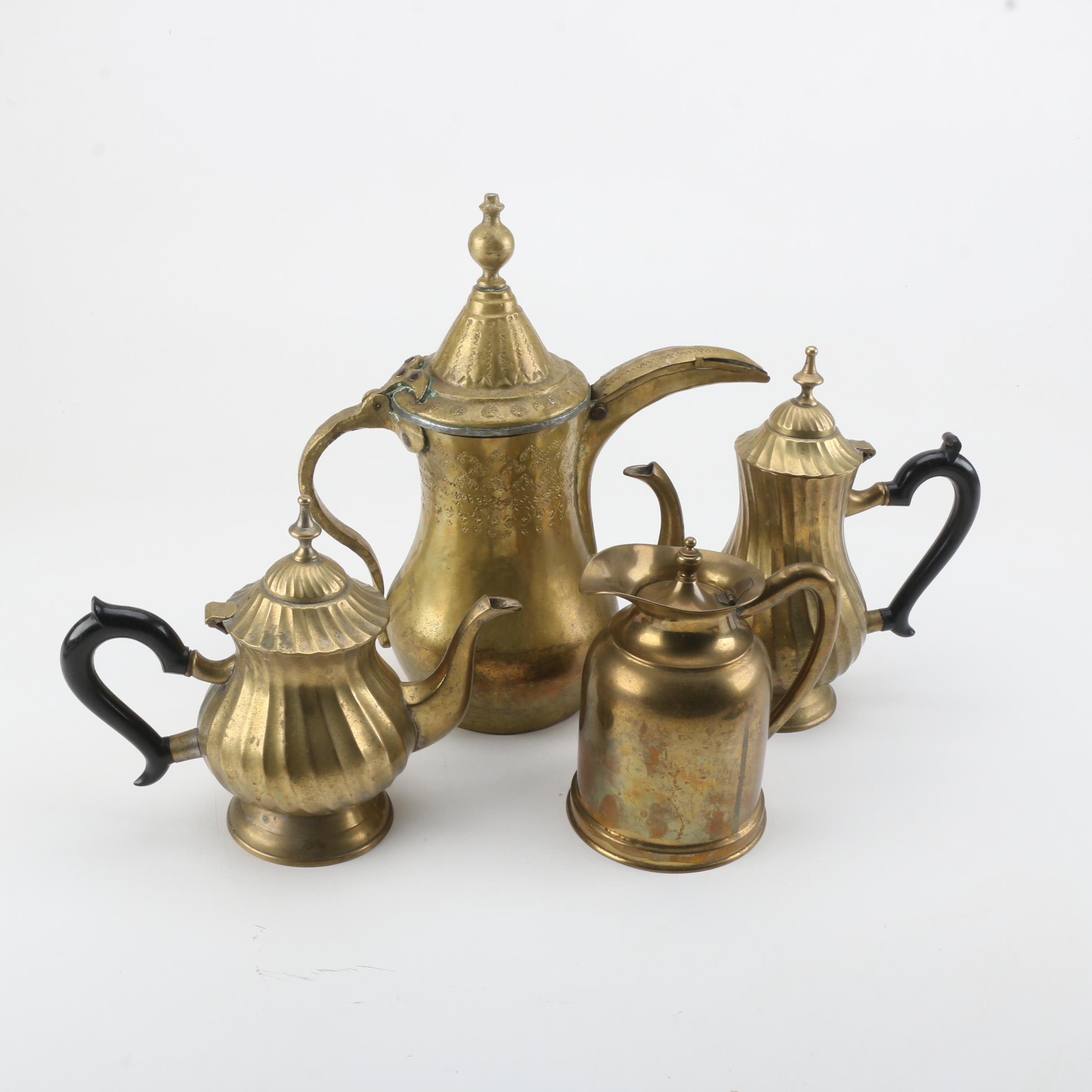 Middle Eastern Brass Dallah with Teapots and Coffee Pots