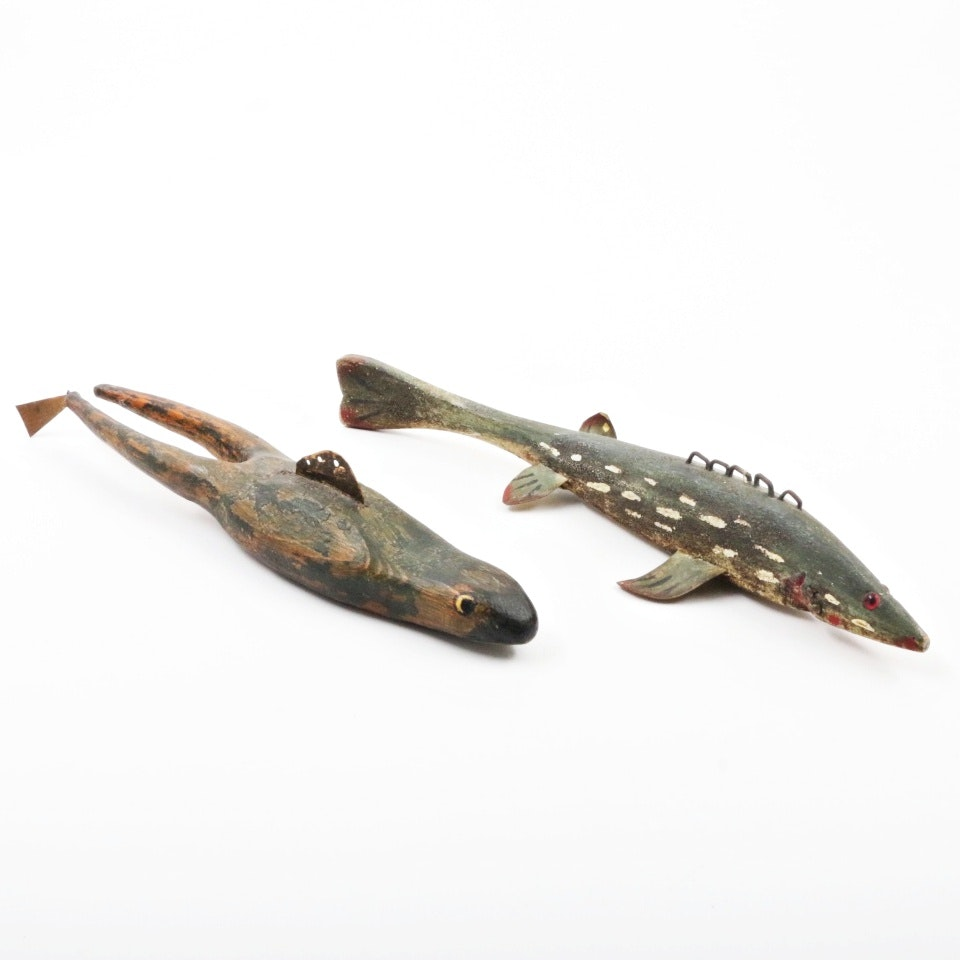 Signed Vintage Wooden Ice Fishing Decoys