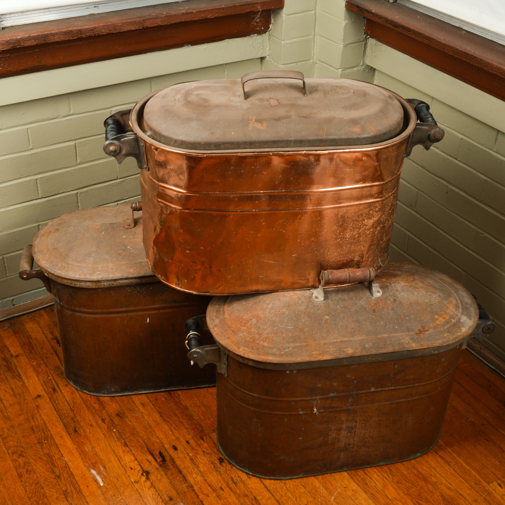 Vintage to Antique Copper Boilers with Metal Lids