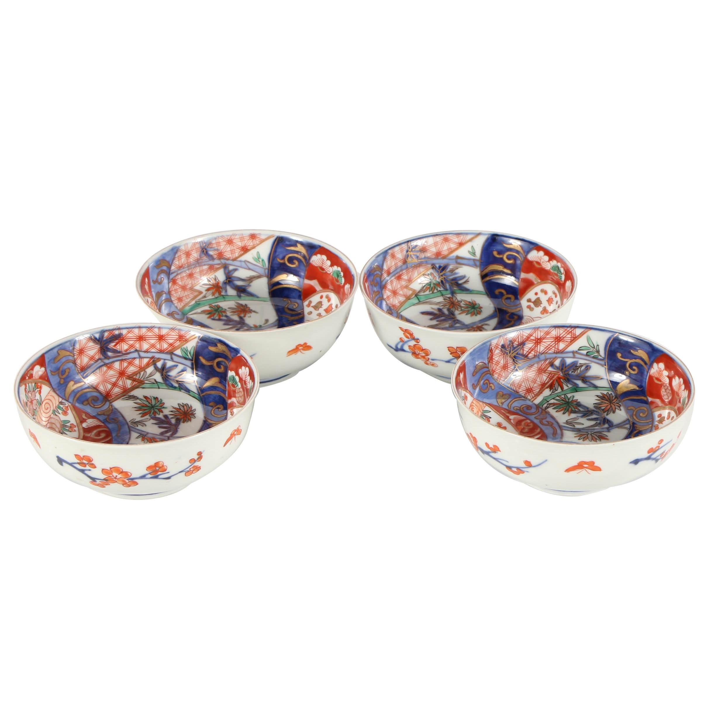 Set of Four Japanese Imari Porcelain Bowls with Floral Motifs