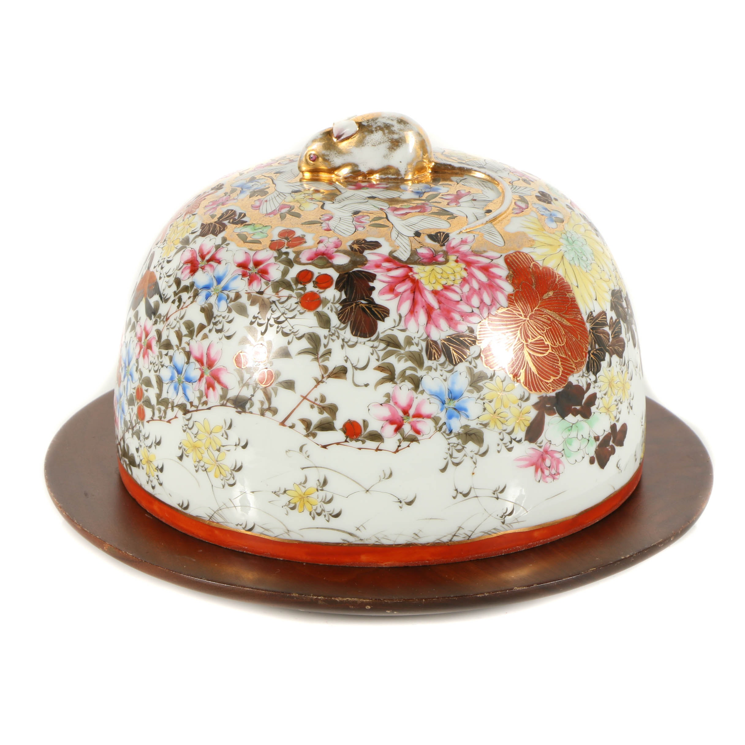 Japanese Porcelain Cloche with Wooden Base