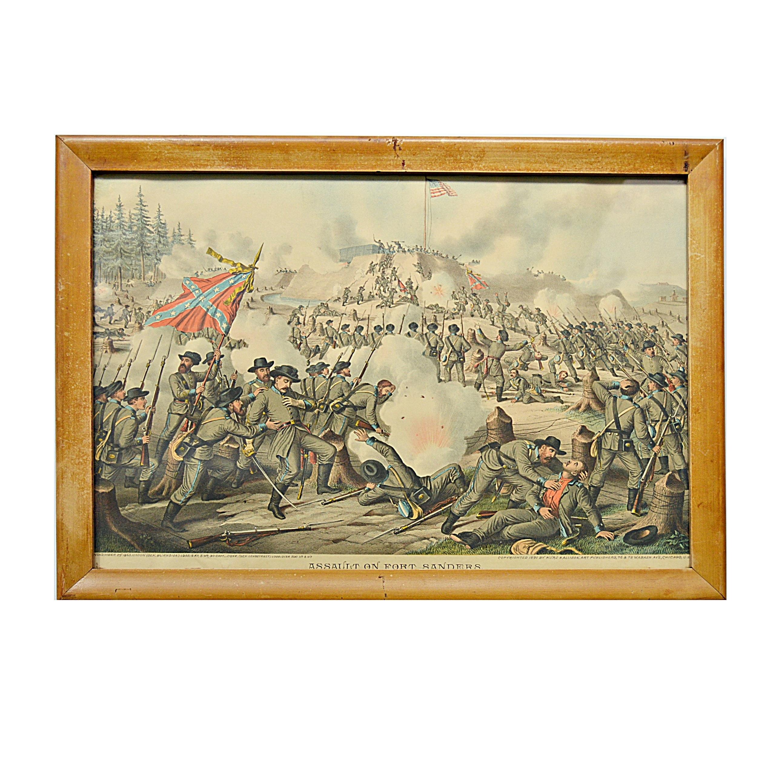 "1891 Kurz & Allison Civil War Chromolithograph ""Assault on Fort Sanders"""