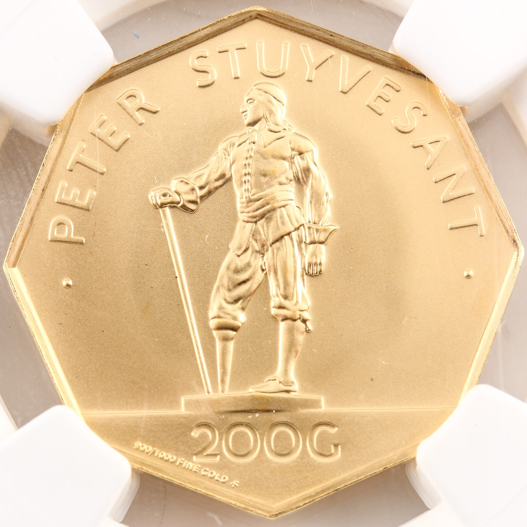 Encapsulated 1977 Netherlands Antilles 200 Gulden Commemorative Gold Coin