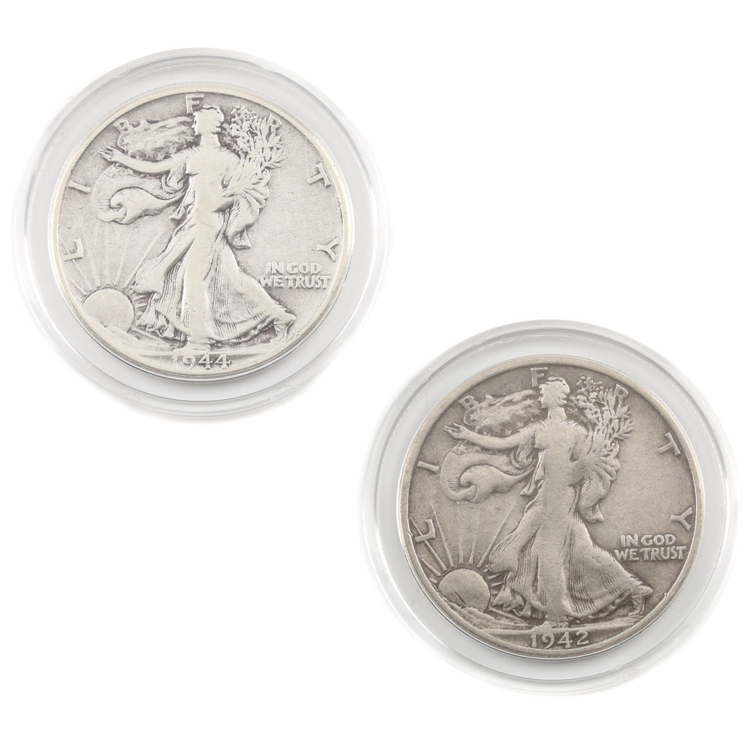 Two Walking Liberty Silver Half Dollars