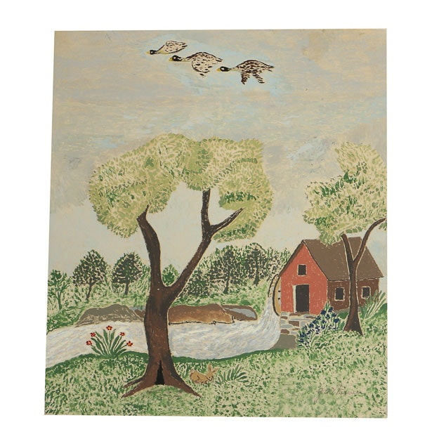 Z.A. Weaver Folk Art Gouache Painting on Paper