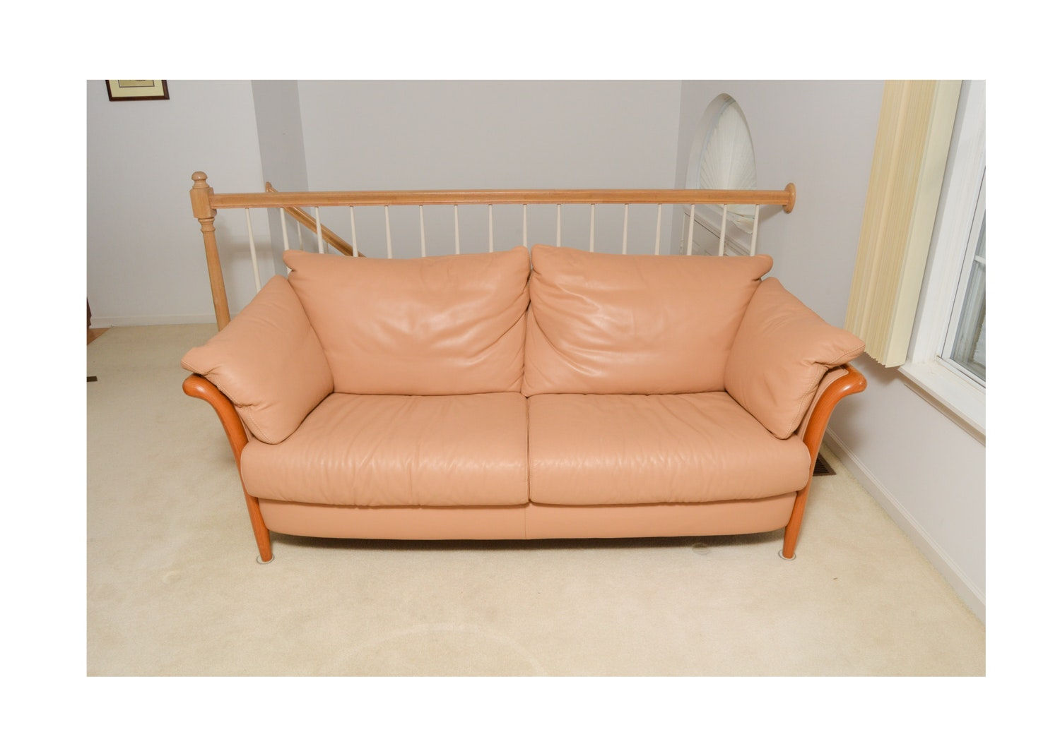 Danish Modern Style Leather Sofa