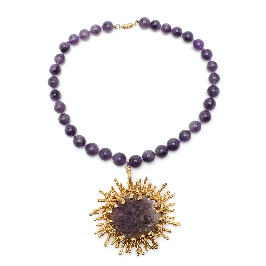 Gold-Tone Amethyst Cluster Hand Knotted Beaded Necklace