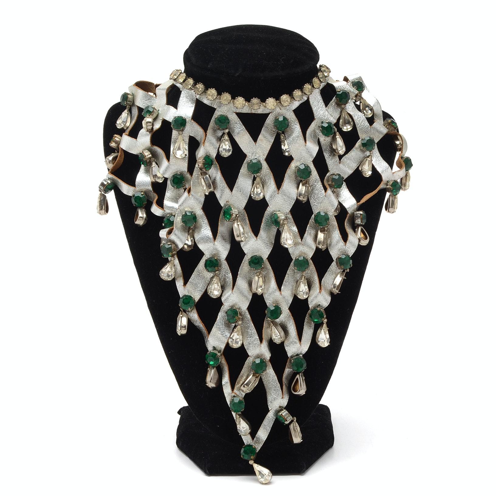Lee Menichetti Vintage Glass and Rhinestone Necklace