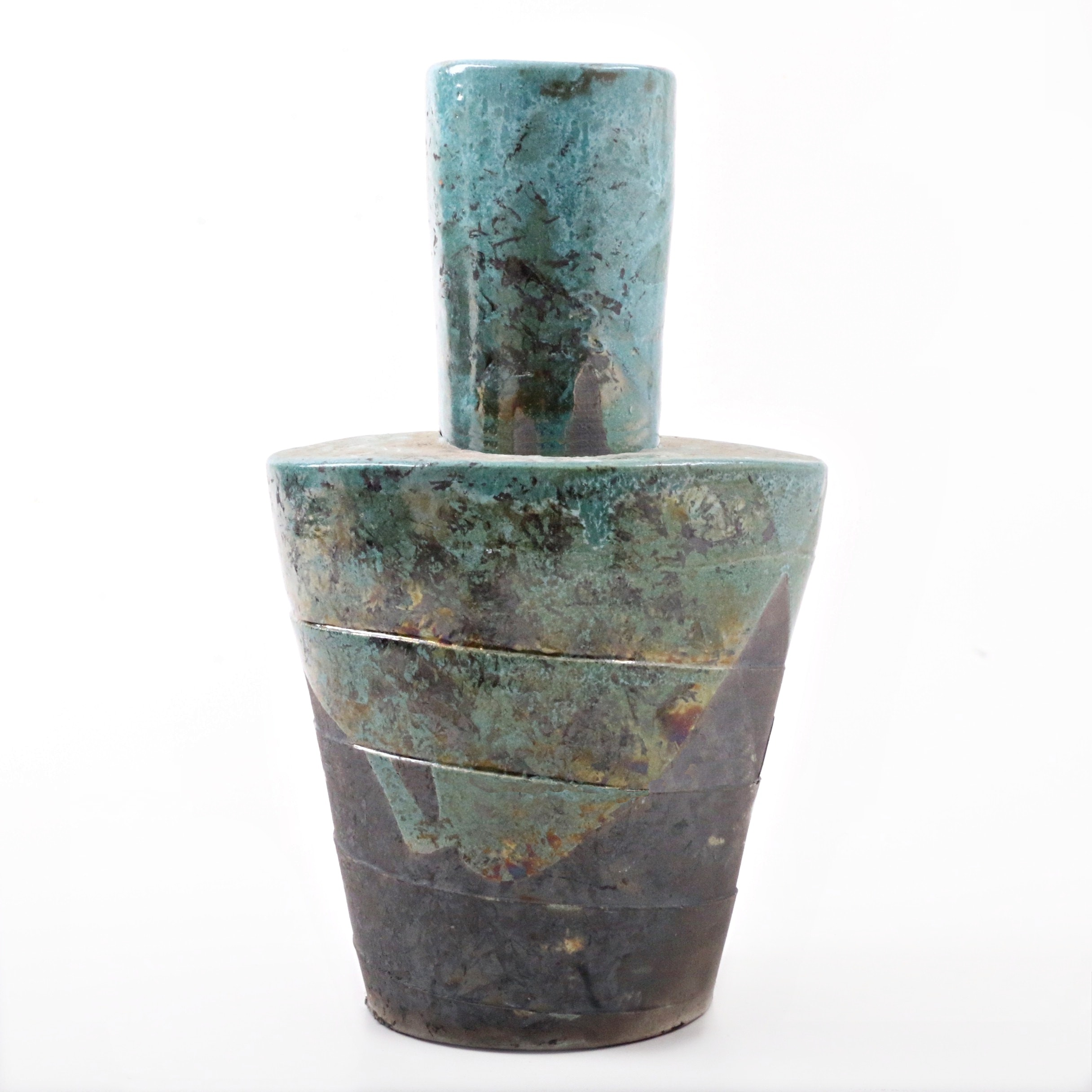 Hand Thrown and Altered Raku Fired Vase