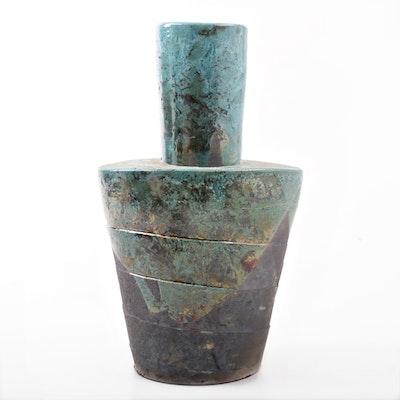 Hand Thrown and Altered Raku Fired Vase