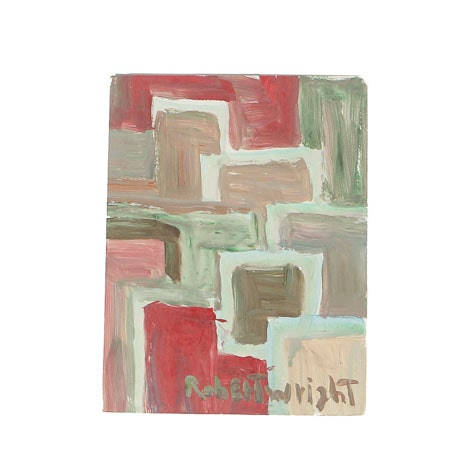 Robert Wright Oil Painting on Paper Abstract Composition