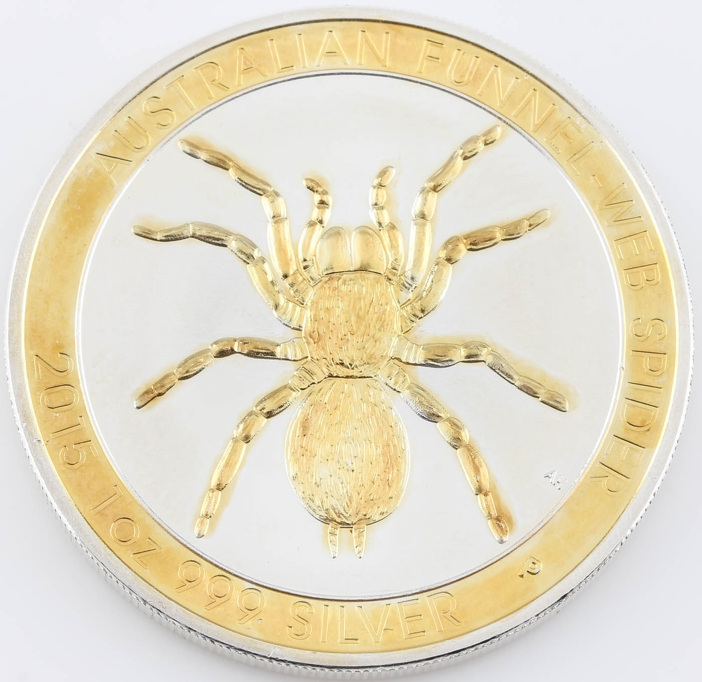 2015 Australia $1 Silver Funnel Web Spider Coin with Gold Highlights