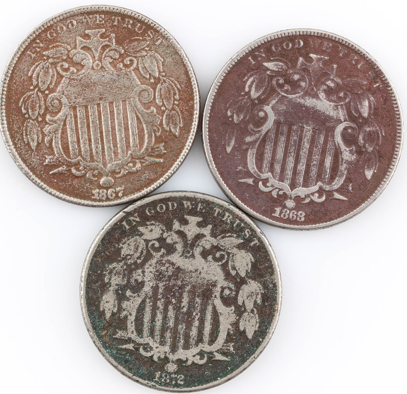 Group of Three Shield Nickels: 1867, 1868, and 1872