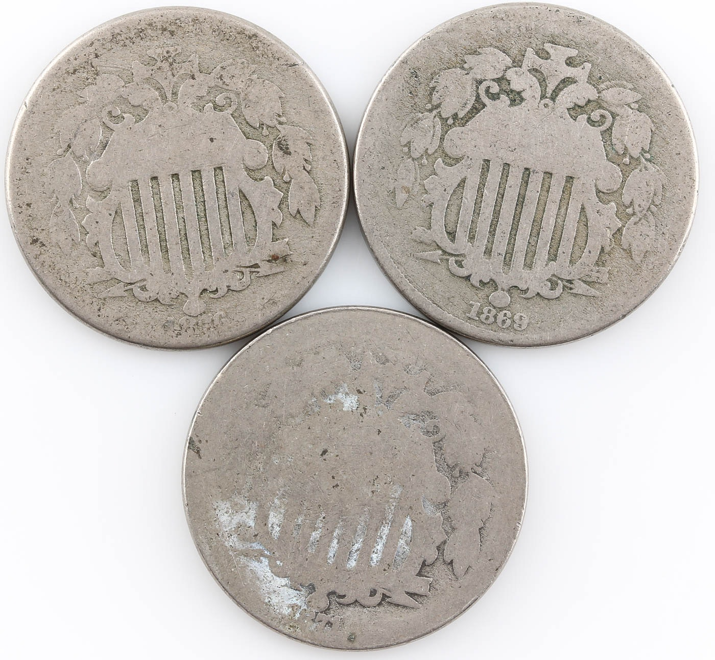 Group of Three Shield Nickels: 1869, 1871, and 1876