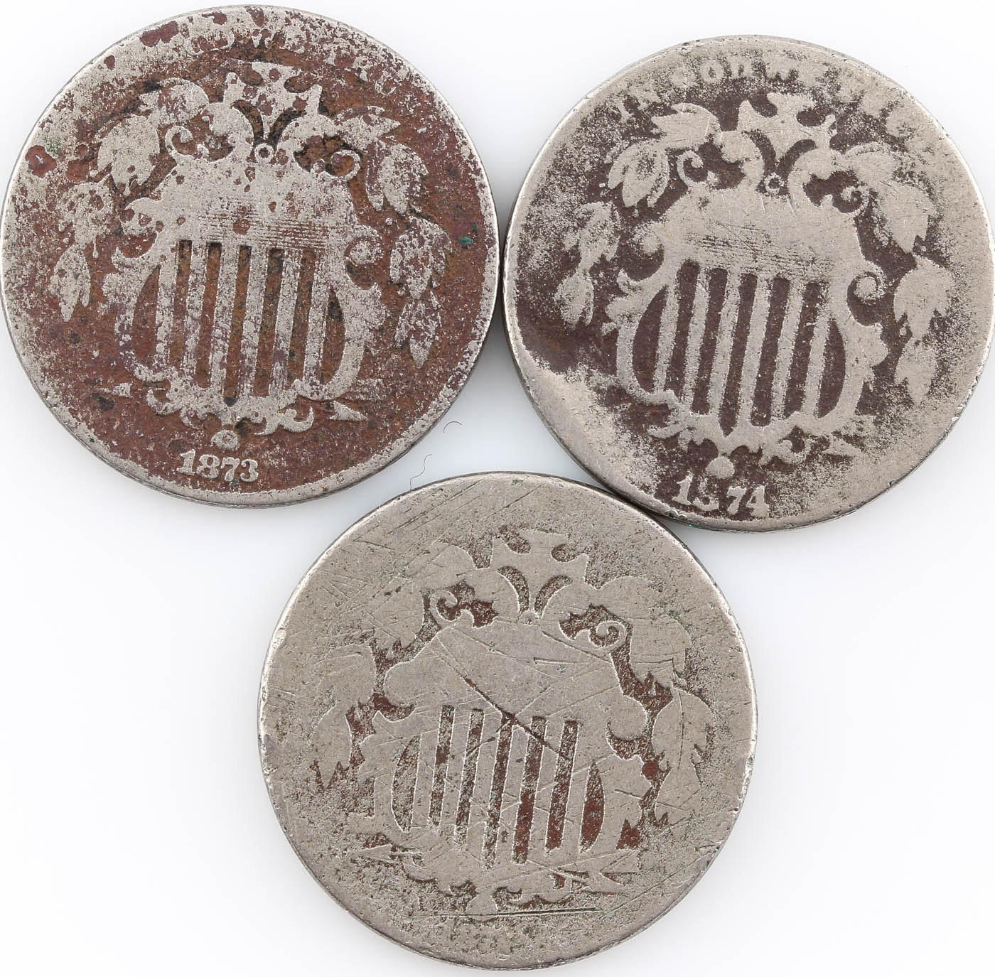 Group of Three Shield Nickels: 1872, 1873, and 1874