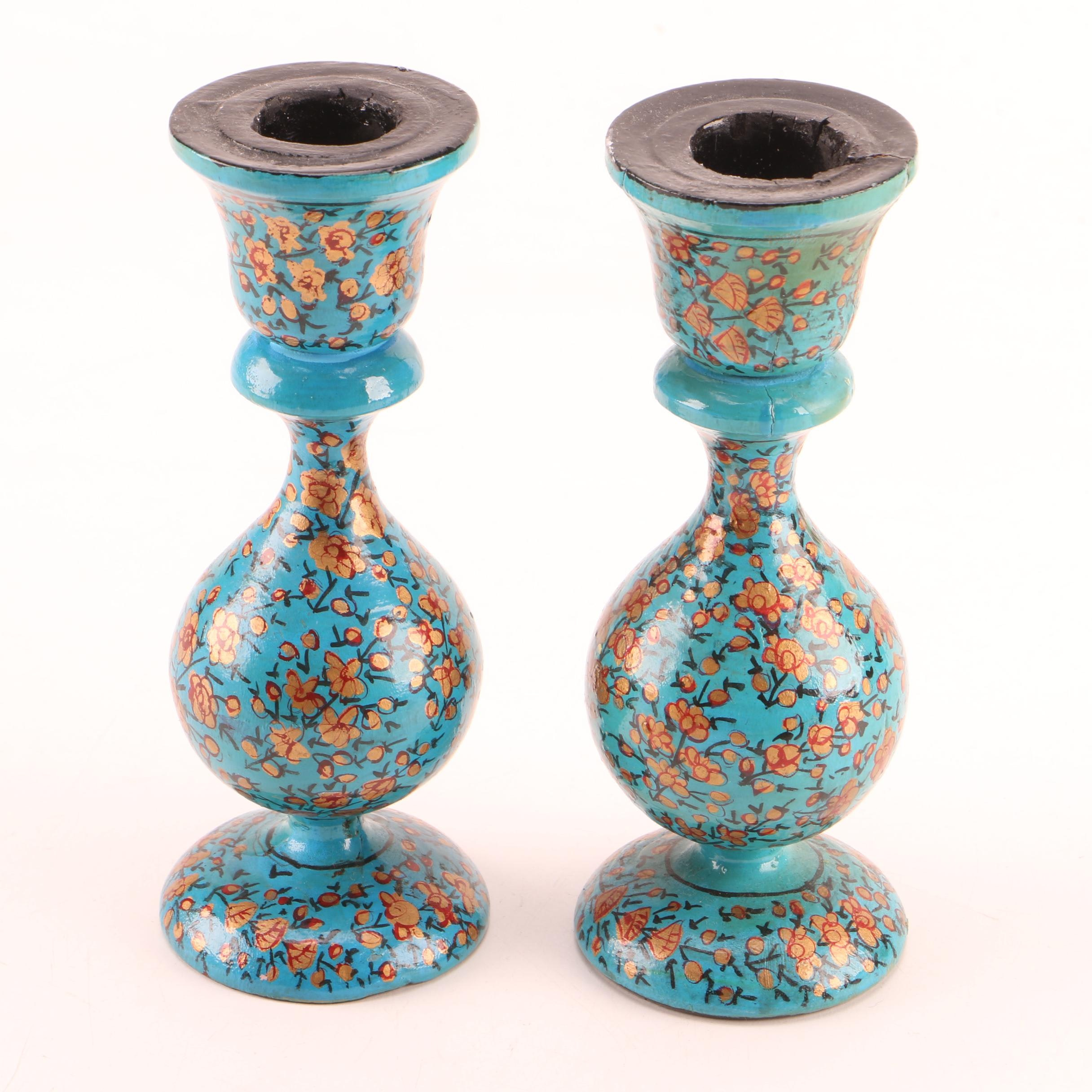 Hand-Painted Wooden Candle Holders