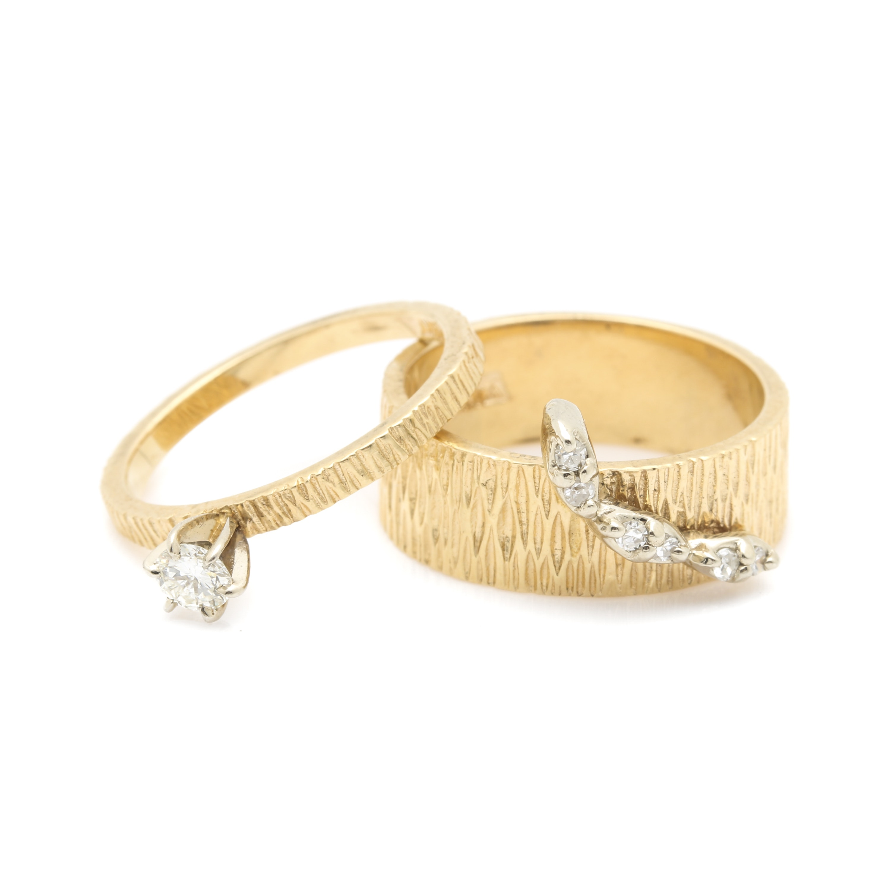 14K Two Tone Gold Diamond Ring Selection