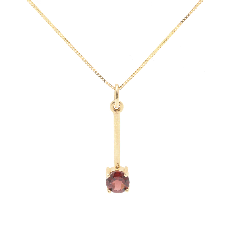 14K Yellow Gold Garnet Necklace