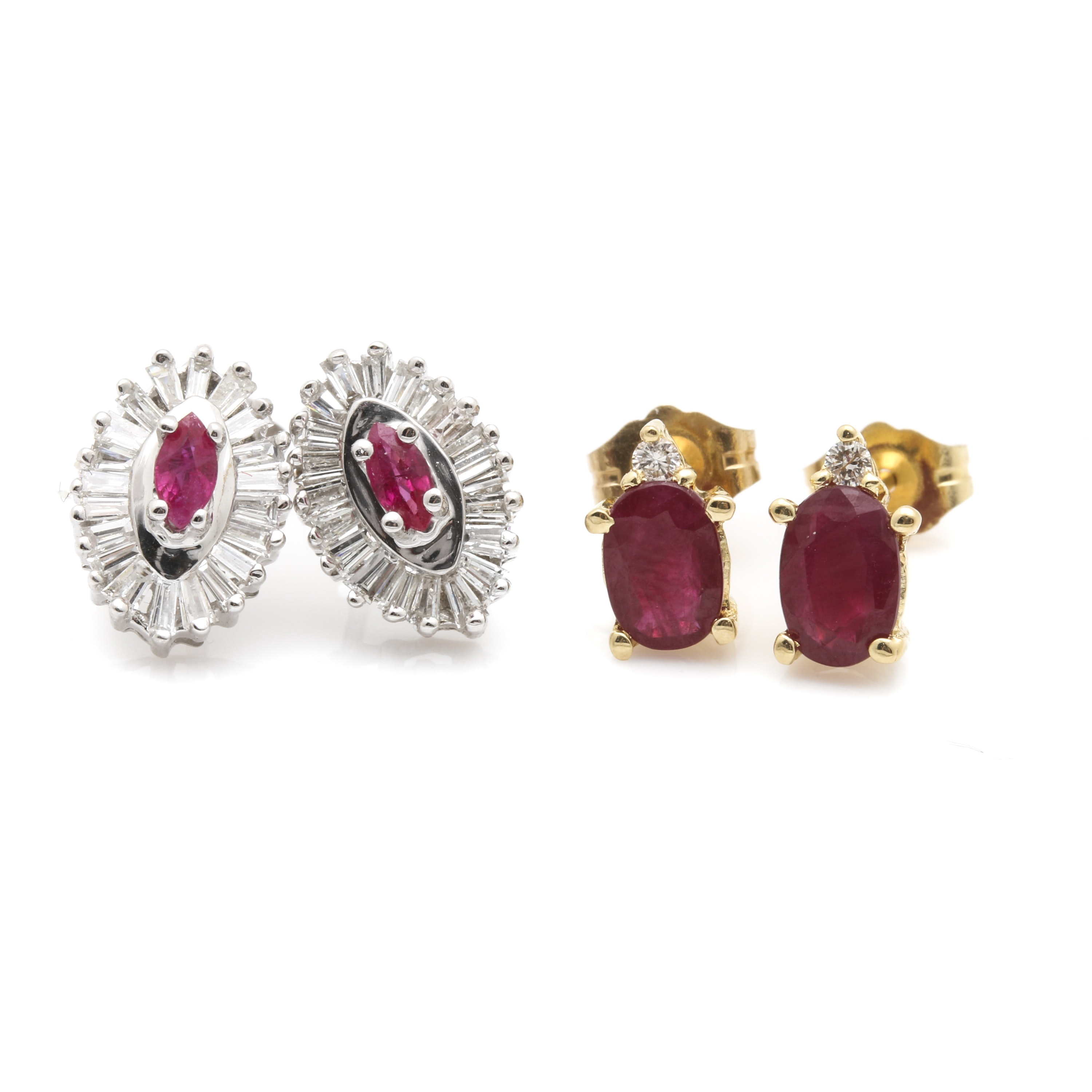 14K Yellow and White Gold Ruby and Diamond Earring Selection