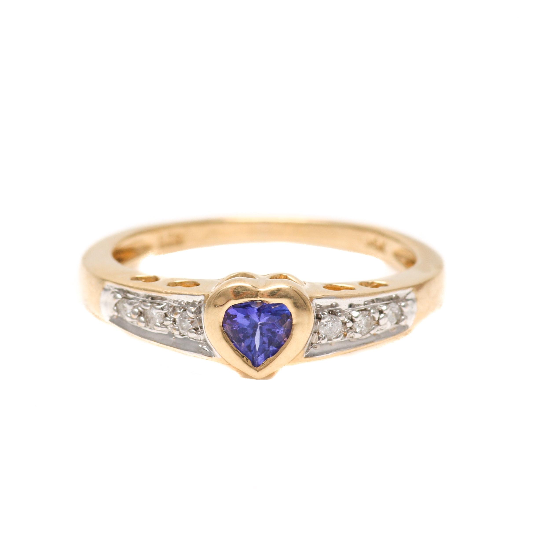 14K Yellow Gold Tanzanite and Diamond Heart Ring