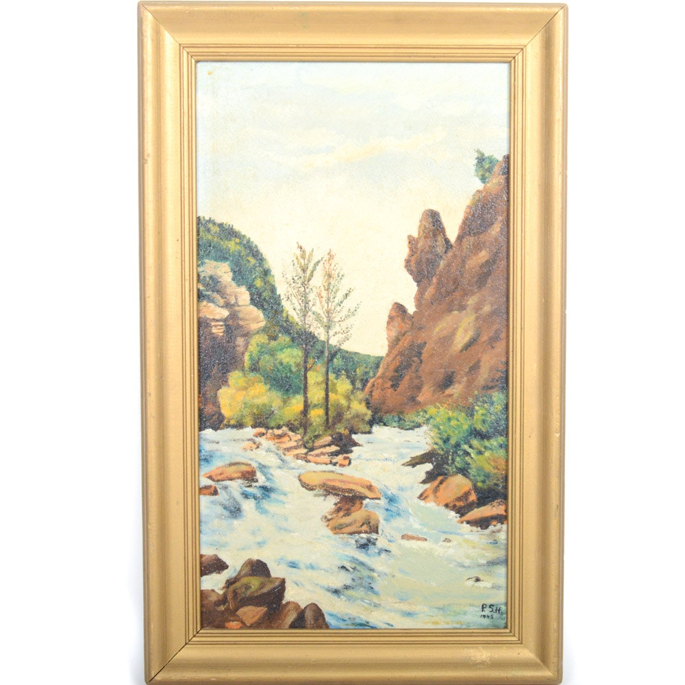 1945 P. S. H. Oil on Board Landscape Painting