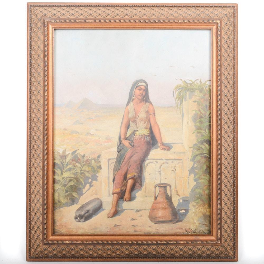K. Osten Oil on Board Full Length Portrait Painting of Egyptian Woman
