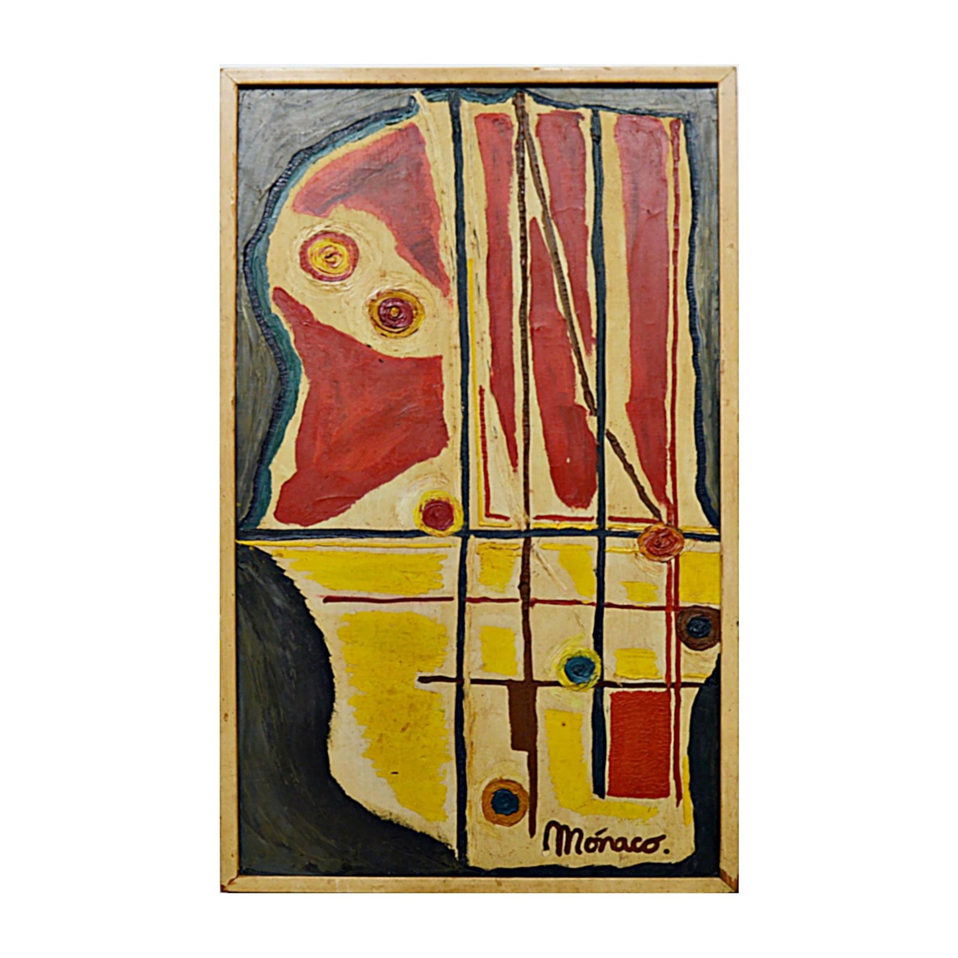 Monaco Original Signed Cubist Oil on Canvas