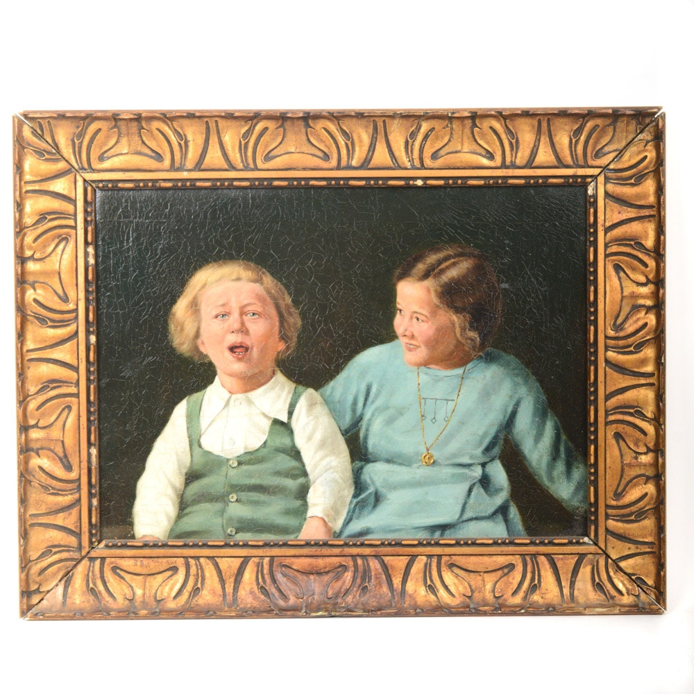 Neoclassical Style Oil on Canvas Portrait of Children