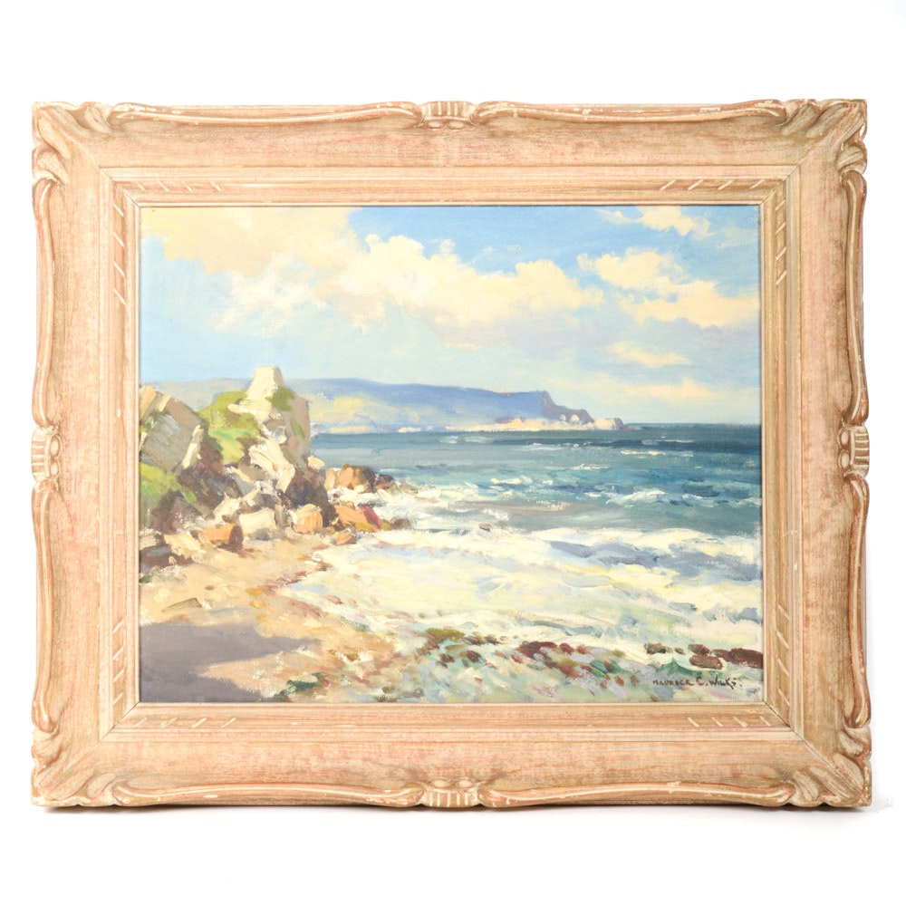 """Maurice Canning Wilks Oil on Canvas Landscape Painting """"Breezy Day Antrim Coast"""""""