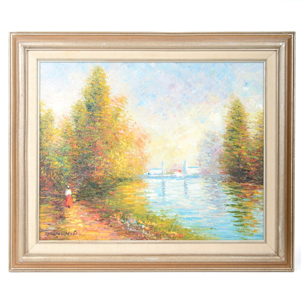 Townsend Oil on Canvas Impressionist Style Landscape Painting