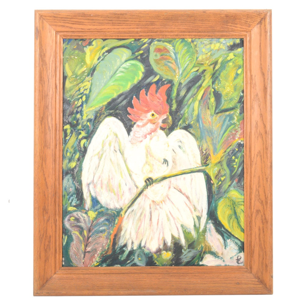 Oil on Canvas Board Fauvist Style Painting of Cockatoo
