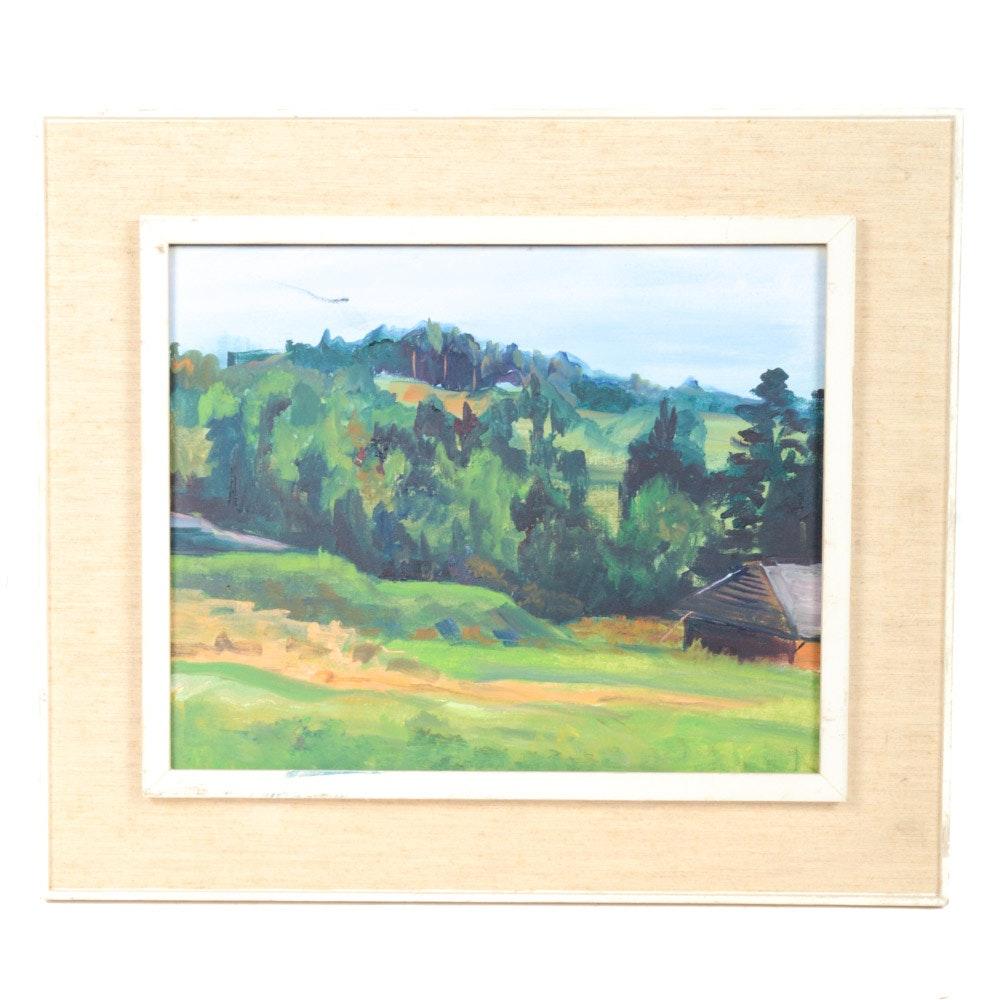 "1967 Alberto Oil on Canvas Landscape Painting ""Switzerland"""
