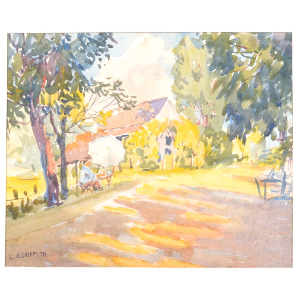 Louis Oscar Griffith Watercolor on Paper Painting