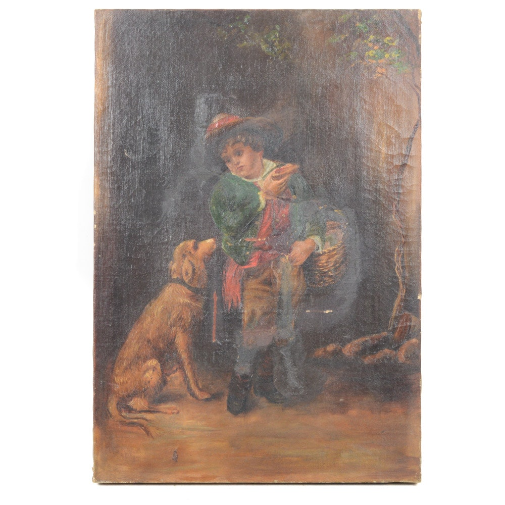 Antique Oil on Canvas Neoclassical Style Painting
