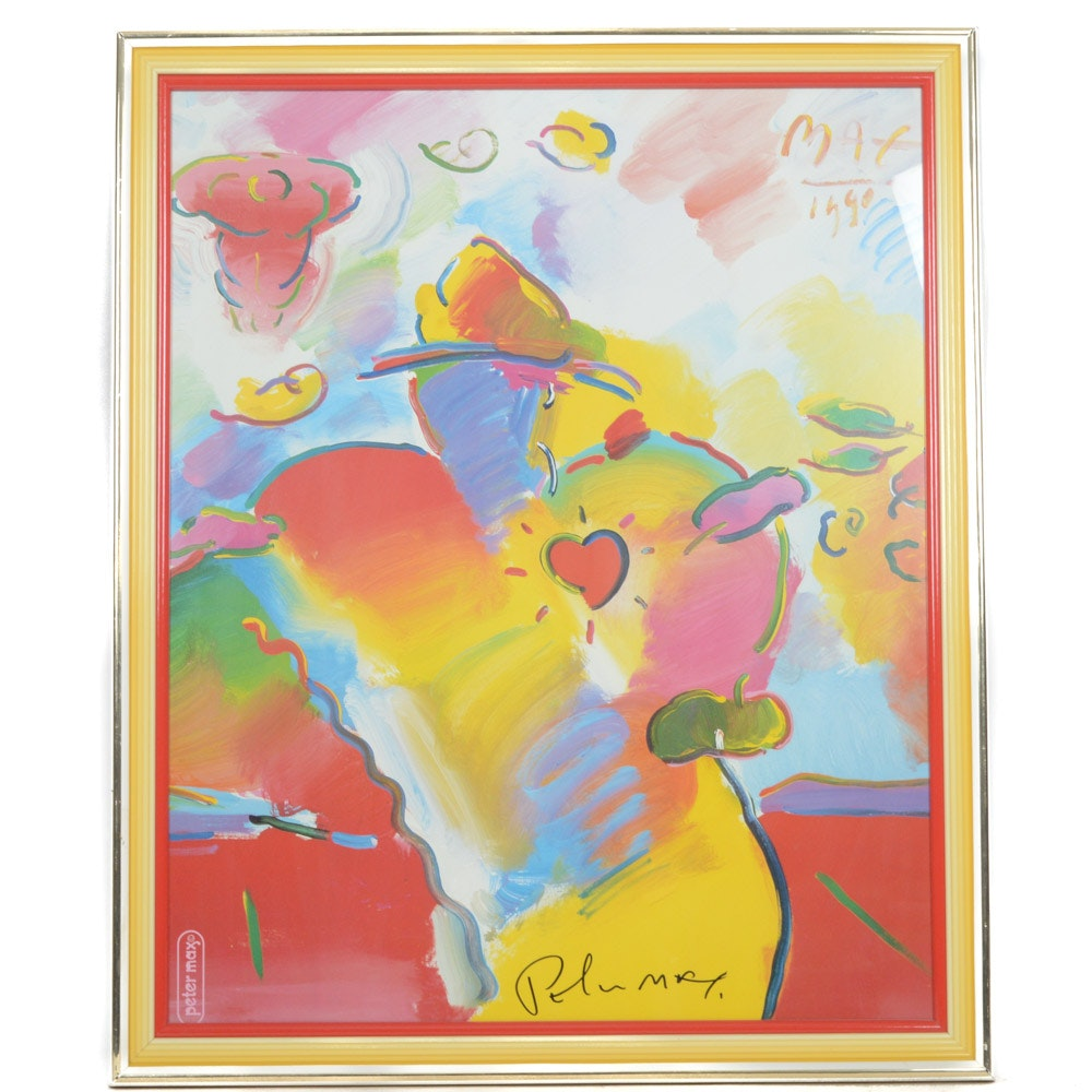"Signed Peter Max Offset Lithograph ""Dega with Heart"""